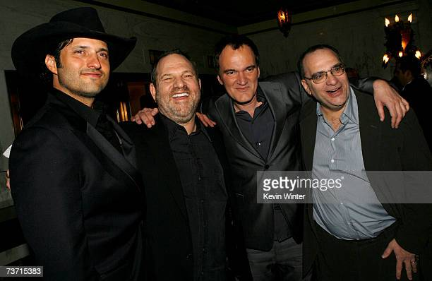 Director Robert Rodriguez producer Harvey Weinstein director Quentin Tarantino and producer Bob Weinstein arrive to the premiere of 'Grindhouse' at...