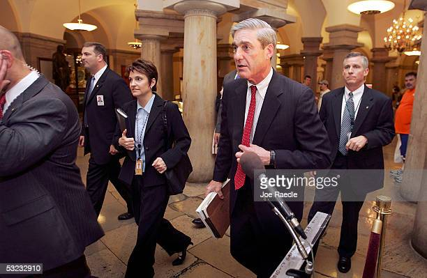 FBI director Robert S Mueller III arrives for meeting with senators July 13 2005 at the Capitol building in Washington DC The meeting was held by...