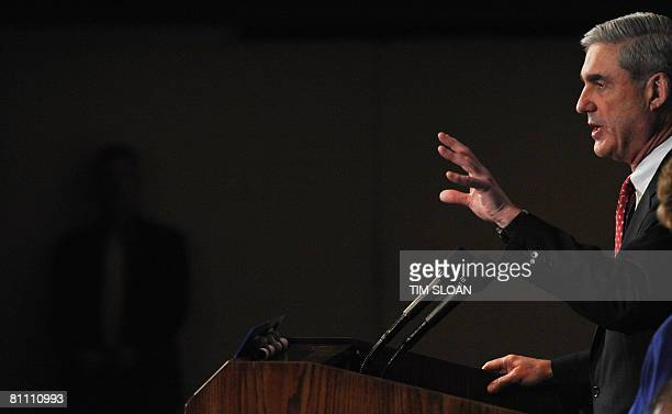 Director Robert S. Mueller III discusses relations between his agency and the news media at the National Press Club on May 16, 2008 in Washington,...