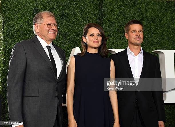 Director Robert Zemeckis actors Marion Cotillard and Brad Pitt attend the fan event for Paramount Pictures' 'Allied' at Regency Village Theatre on...