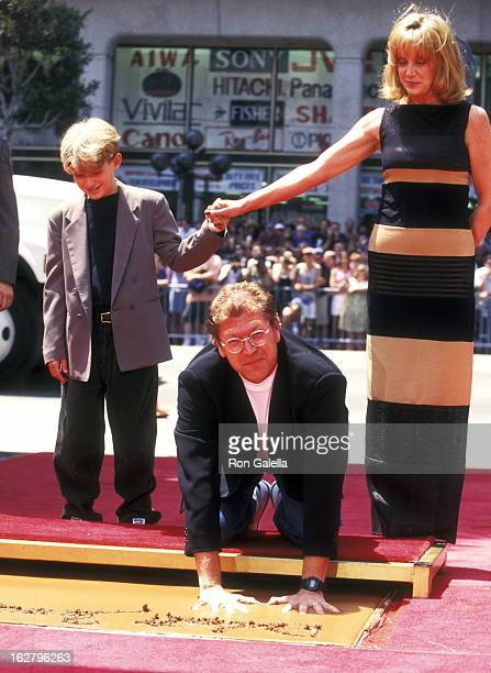 Director Robert Zemeckis Actress Mary Ellen Trainor and son Alexander Zemeckis attend Robert Zemeckis Hands and Footprints Ceremony on July 8 1997 at...