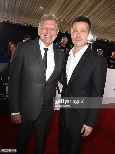 Director Robert Zemeckis and actor Brad Pitt attend the fan event for Paramount Pictures' 'Allied' at Regency Village Theatre on November 9 2016 in...