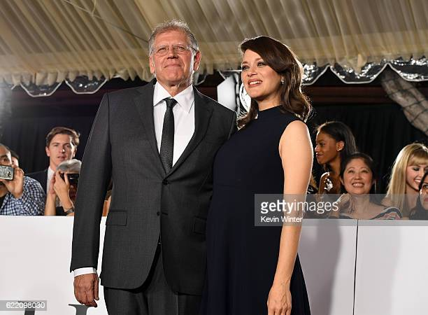 Director Robert Zemeckis and actress Marion Cotillard attend the fan event for Paramount Pictures' 'Allied' at Regency Village Theatre on November 9...