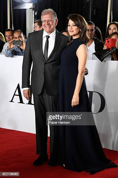 Director Robert Zemeckis and actress Marion Cotillard attends the fan event for Paramount Pictures' 'Allied' at Regency Village Theatre on November 9...