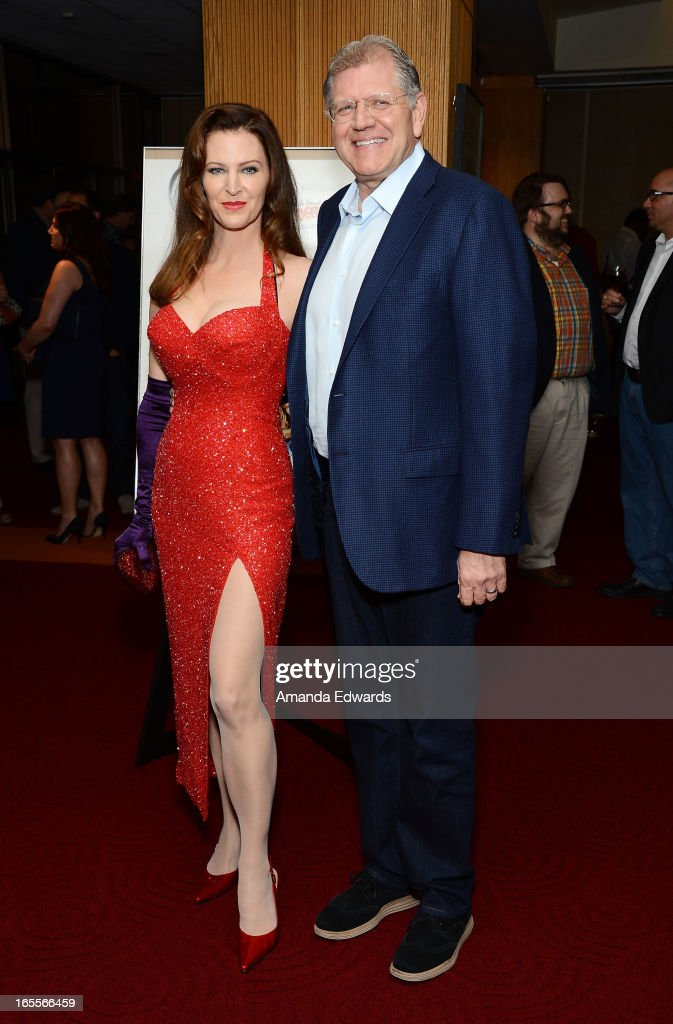 Director Robert Zemeckis (R) and his wife, actress Leslie Harter Zemeckis arrive at The Academy Of Motion Picture Arts And Sciences' 25th Anniversary Screening Of 'Who Framed Roger Rabbit' at AMPAS Samuel Goldwyn Theater on April 4, 2013 in Beverly Hills, California.