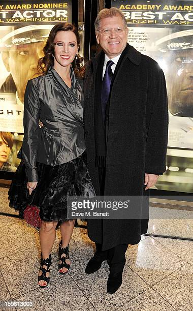 Director Robert Zemeckis and Leslie Zemeckis attend the UK Premiere of 'Flight' at the the Empire Leicester Square on January 17 2013 in London...