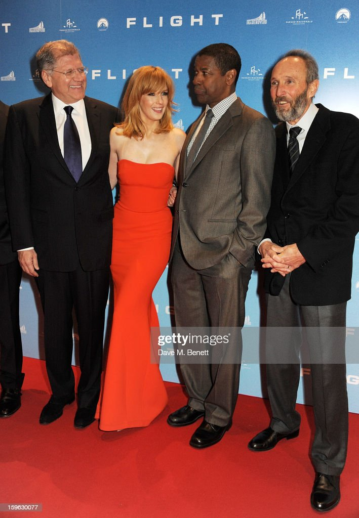 Director Robert Zemeckis, Kelly Reilly, Denzel Washington and producer Steve Starkey attend the UK Premiere of 'Flight' at the the Empire Leicester Square on January 17, 2013 in London, England.