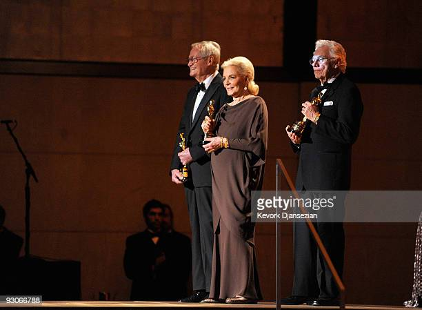 Director Roger Corman Actress Lauren Bacall and Gordon Willis attend the Academy of Motion Picture Arts and Sciences' Inaugural Governors Awards held...