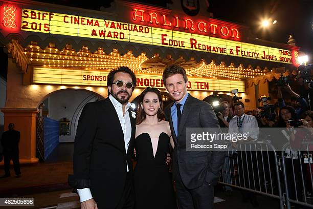 SBIFF director Roger Durling actors Felicity Jones and Eddie Redmayne attend the 30th Santa Barbara International Film Festival 'Cinema Vanguard'...