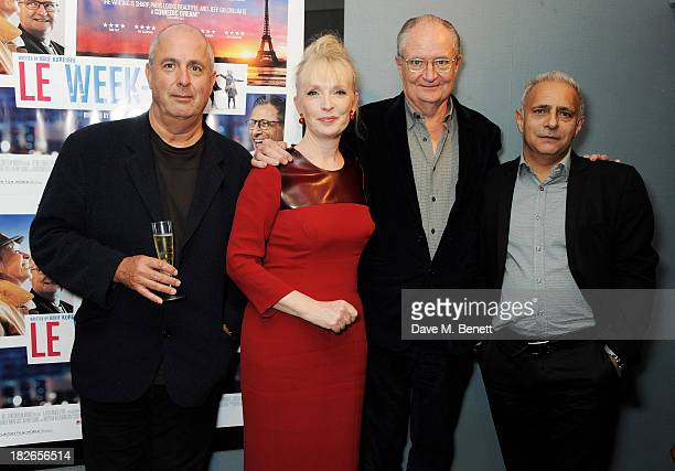 Director Roger Michell Lindsay Duncan Jim Broadbent and writer Hanif Kureishi attend the UK Premiere of 'Le Weekend' at Curzon Chelsea on October 2...