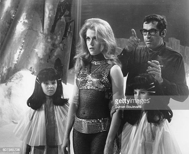 Director Roger Vadim on the set of Barabrella withJane Fonda