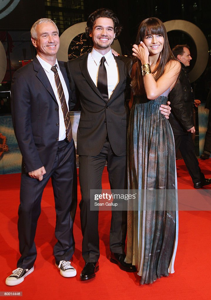 Director Roland Emmerich, actor Steven Strait and actress Camilla Belle attend the world premiere of '10,000 B.C.' at the Sony Center CineStar on February 26, 2008 in Berlin, Germany.