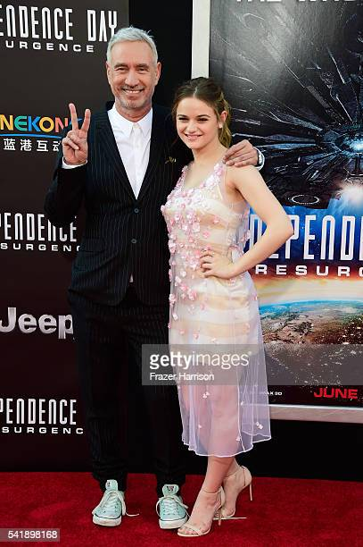 Director Roland Emmerich and actress Joey King attend the premiere of 20th Century Fox's Independence Day Resurgence at TCL Chinese Theatre on June...