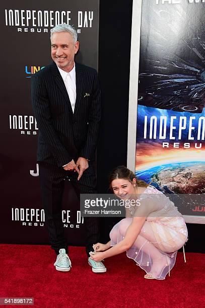 Director Roland Emmerich and actress Joey King attend the premiere of 20th Century Fox's 'Independence Day Resurgence' at TCL Chinese Theatre on June...