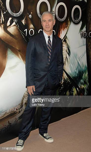 Director Roland Emmerich attends the premiere of 10000 BC at Proyecciones Cinema on Febraury 28 2008 in Madrid Spain