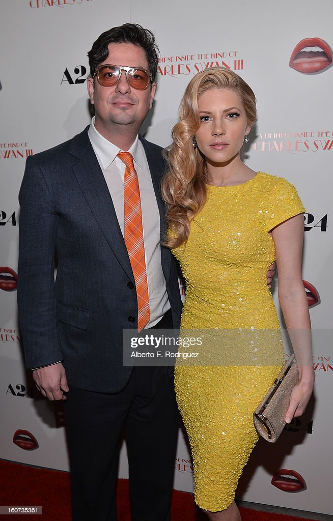Director Roman Coppola and actress Katheryn Winnick attends the Los Angeles premiere of A24's 'A Glimpse Inside The Mind Of Charles Swan III' at ArcLight Hollywood on February 4, 2013 in Hollywood, California.