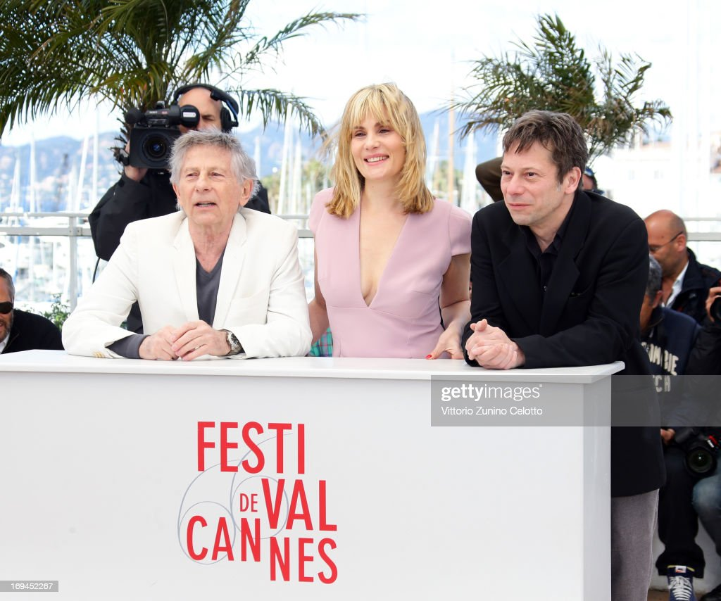Director Roman Polanski, actress Emmanuelle Seigner and actor Mathieu Amalric attend the 'La Venus A La Fourrure' Photocall during the 66th Annual Cannes Film Festival on May 25, 2013 in Cannes, France.