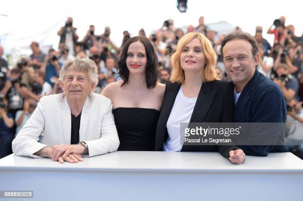 Director Roman Polanski actresses Eva Green Emmanuelle Seigner and actor Vincent Perez attend the 'Based On A True Story' photocall during the 70th...