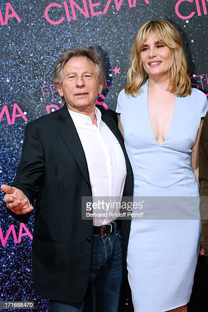 Director Roman Polanski and actress Emmanuelle Seigner pose at Festival Paris Cinema Opening night and premiere of 'La Venus a la fourrure' held at...