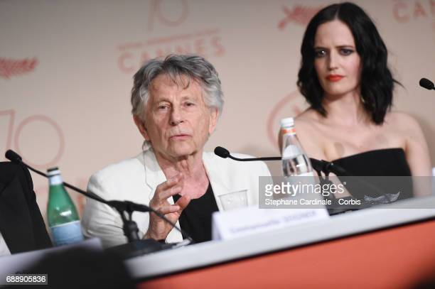Director Roman Polanski and actress Eva Green attend the 'Based On A True Story' Press Conference during the 70th annual Cannes Film Festival at...