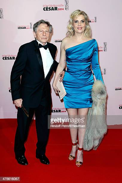 Director Roman Polanski and his wife actress Emmanuelle Seigner arrive for the 39th Cesar Film Awards 2014 at Theatre du Chatelet on February 28 2014...