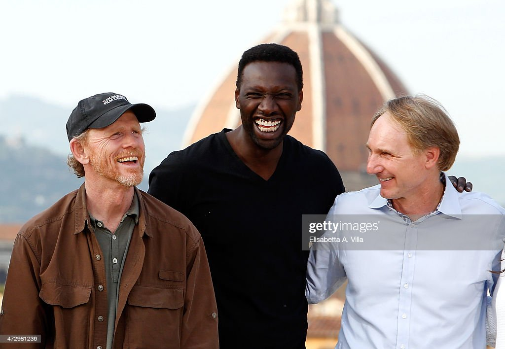 Director Ron Howard, actor Omar Sy and writer Dan Browne attend 'Inferno' photocall at Palazzo Pitti on May 11, 2015 in Florence, Italy.