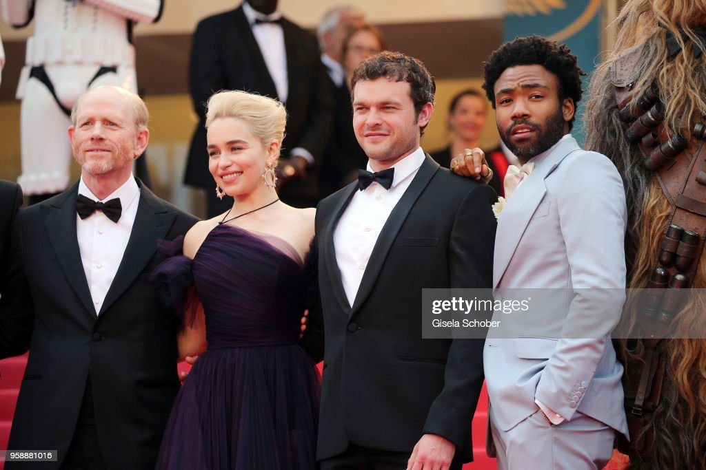 Director Ron Howard, actress Emilia Clarke, actors Alden Ehrenreich and Donald Glover attend the screening of 'Solo: A Star Wars Story' during the 71st annual Cannes Film Festival at Palais des Festivals on May 15, 2018 in Cannes, France.