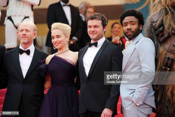 Director Ron Howard actress Emilia Clarke actors Alden Ehrenreich and Donald Glover attend the screening of 'Solo A Star Wars Story' during the 71st...