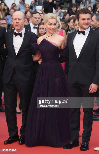 Director Ron Howard actress Emilia Clarke and actor Alden Ehrenreich attend the screening of 'Solo A Star Wars Story' during the 71st annual Cannes...