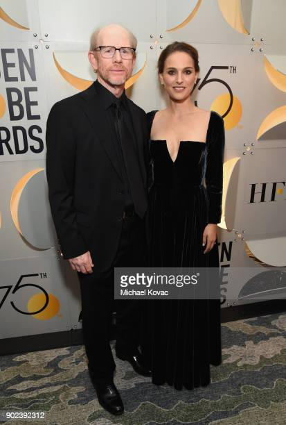 Director Ron Howard and actor Natalie Portman celebrate The 75th Annual Golden Globe Awards with Moet Chandon at The Beverly Hilton Hotel on January...