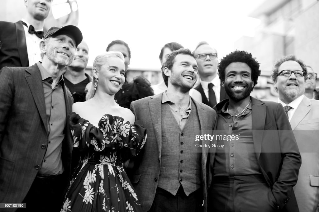 """Director Ron Howard, and actors Emilia Clarke, Alden Ehrenreich, Donald Glover, and Jon Favreau attend the world premiere of """"Solo: A Star Wars Story"""" in Hollywood on May 10, 2018."""