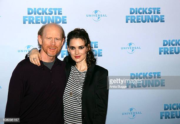 Director Ron Howard and actress Winona Ryder attend a photocall to promote the movie 'Dickste Freunde' at Hotel Adlon on January 17, 2011 in Berlin,...