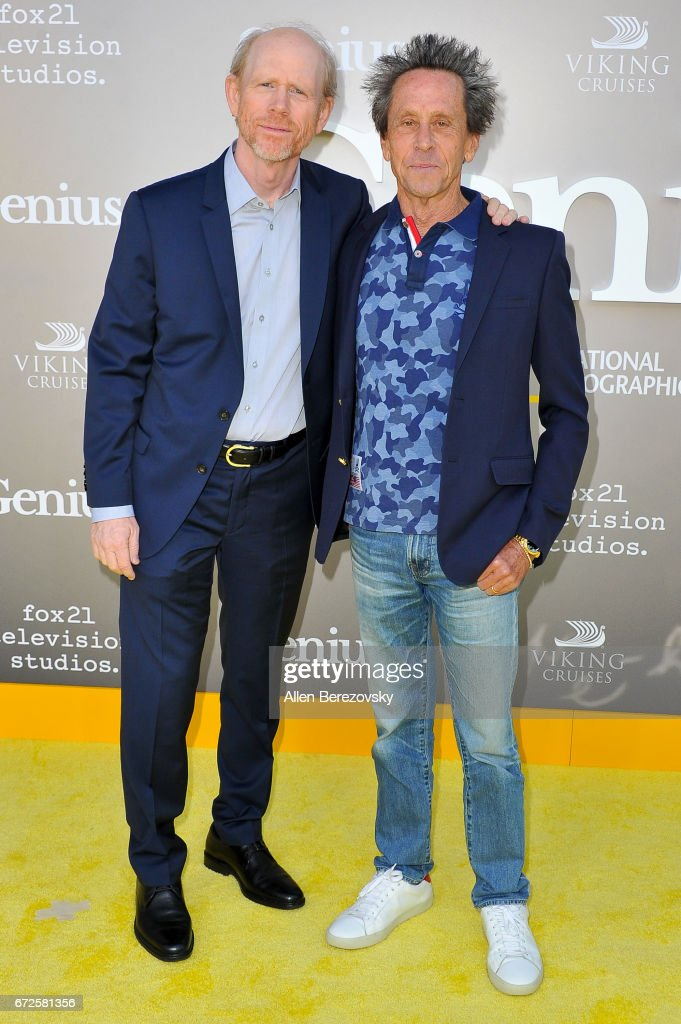 Director Ron Howard and executive producer Brian Grazer attend a premiere of National Geographic's 'Genius' at Fox Bruin Theater on April 24, 2017 in Los Angeles, California.