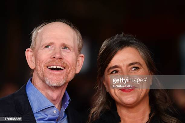 Director Ron Howard and Giuliana Pavarotti, the daughter of late Italian tenor Luciano Pavarotti arrive for the screening of the documentary film...
