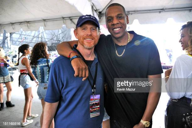 Director Ron Howard and Jay-Z pose backstage during Budweiser Made In America Festival Benefiting The United Way - Day 2 at Benjamin Franklin Parkway...
