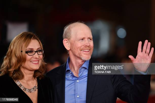 US director Ron Howard and Nicoletta Mantovani the second wife of late Italian tenor Luciano Pavarotti arrive for the screening of the documentary...