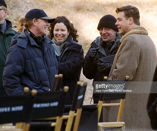 Director Ron Howard and star Russell Crowe take a break during the filming of 'A Beautiful Mind' while on location at Princeton University
