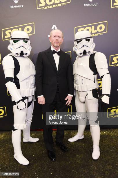 Director Ron Howard and Stormtroopers attend a 'Solo: A Star Wars Story' party at the Carlton Beach following the film's out of competition screening...