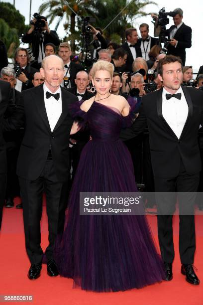 Director Ron Howard Emilia Clarke and Alden Ehrenreich attend the screening of 'Solo A Star Wars Story' during the 71st annual Cannes Film Festival...