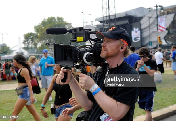 Director Ron Howard films backstage during the Budweiser Made In America Festival Benefiting The United Way - Day 1 at Benjamin Franklin Parkway on...