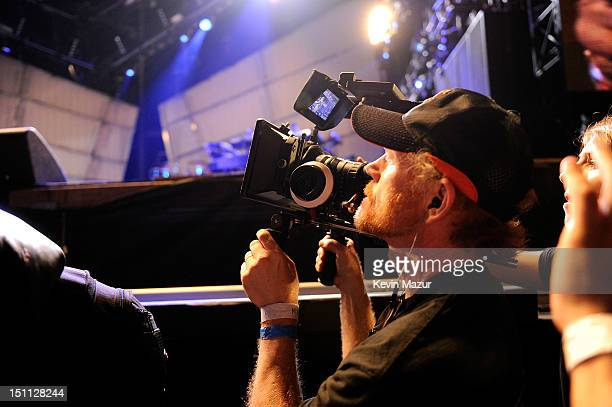 Director Ron Howard films JayZ during the Budweiser Made In America Festival Benefiting The United Way Day 1 at Benjamin Franklin Parkway on...