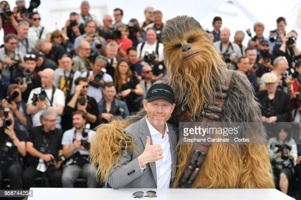 Director Ron Howard gives the thumbs up with Chewbacca at the photocall for 'Solo A Star Wars Story' during the 71st annual Cannes Film Festival at...