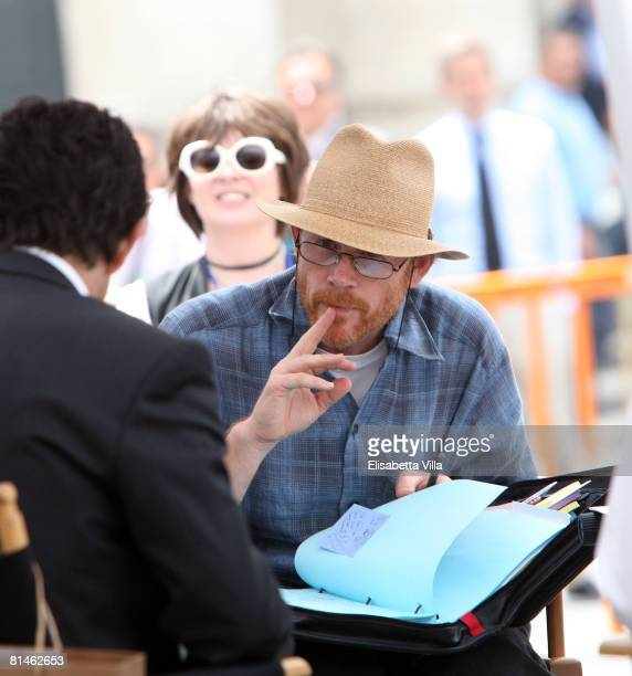 """Director Ron Howard is seen on the set of the movie """"Angels And Demons"""" at Piazza Del Popolo on June 5, 2008 in Rome, Italy. The movie, played by Tom..."""