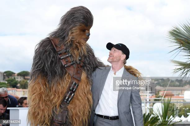 Director Ron Howard poses with Chewbacca at the photocall for 'Solo A Star Wars Story' during the 71st annual Cannes Film Festival at Palais des...