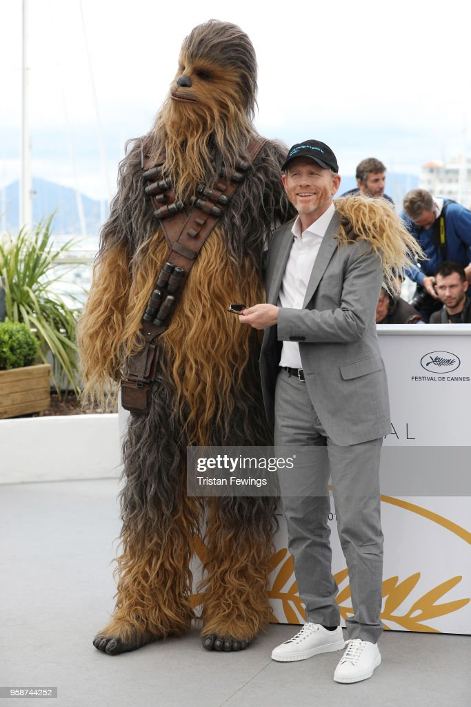 Director Ron Howard poses with Chewbacca (in costume) at the photocall for 'Solo: A Star Wars Story' during the 71st annual Cannes Film Festival at Palais des Festivals on May 15, 2018 in Cannes, France.