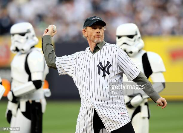 Director Ron Howard throws out the ceremonial first pitch before the game between the New York Yankees and the Cleveland Indians at Yankee Stadium on...