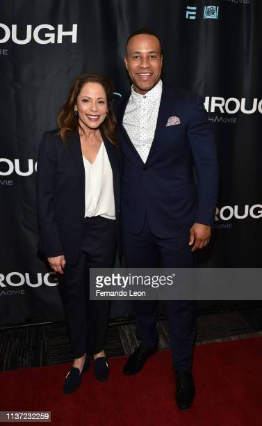 Director Roxann Dawson and producer DeVon Franklin attend the premiere of 'Breakthrough' at the Marcus Des Peres Cinema on March 20 2019 in St Louis...