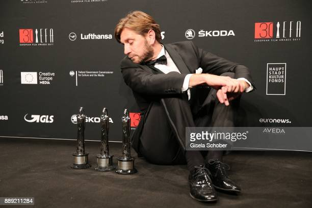 Director Ruben Oestlund with award during the 30th European Film Awards 2017 at 'Haus der Berliner Festspiele' on December 9 2017 in Berlin Germany