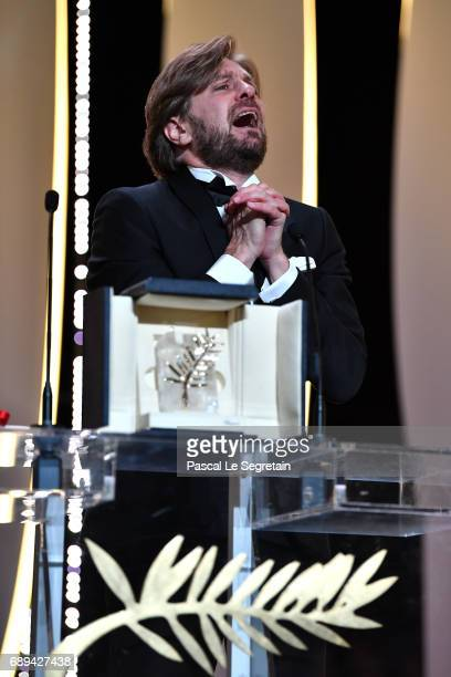 Director Ruben Ostlund speaks on the stage after receiving the Palme d'Or for the movie 'The Square' at the Closing Ceremony during the 70th annual...