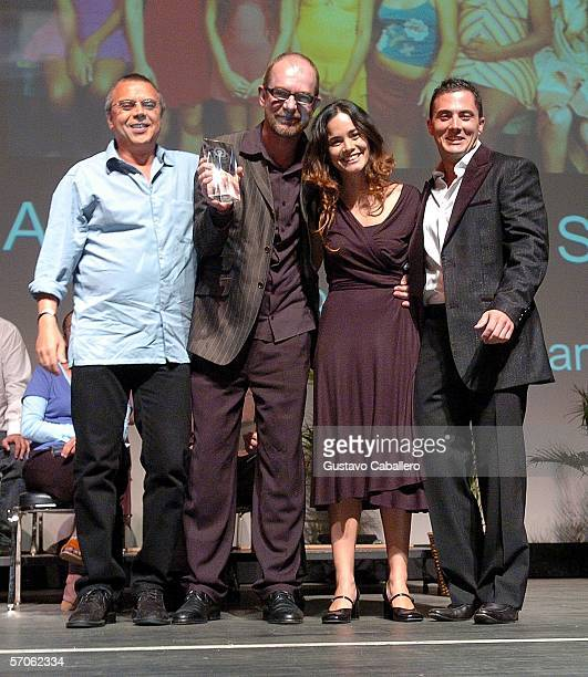 Director Rudi Lagemann with his producer Luiz Leitao actress Alicia Braga and Jose Antonio accepts his Audience Award Prize award at the Miami...